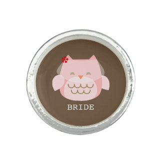Owl Bride Wedding Photo Ring