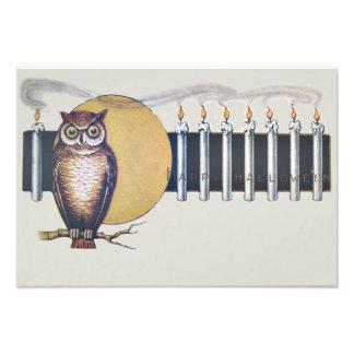 Owl Candles Full Moon Vintage Halloween Art Photo