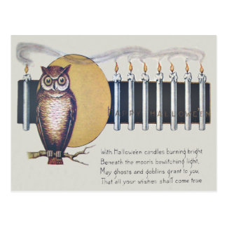 Owl Candles Full Moon Vintage Halloween Postcard