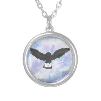 Owl Carrying Mail Silver Plated Necklace