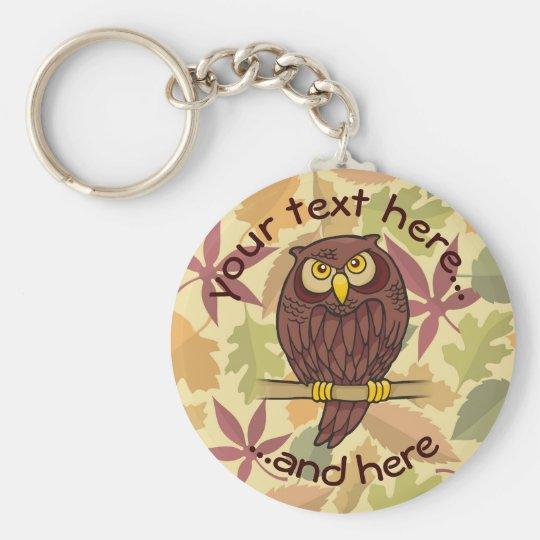 Owl Cartoon Basic Round Button Keychain