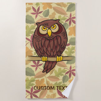 Owl Cartoon Beach Towel