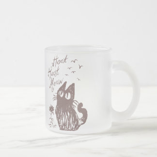 Owl Cat (Cocoa brown) 10 Oz Frosted Glass Coffee Mug
