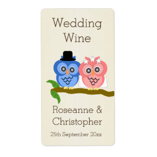 Owl Champagne Wedding Wine Shipping Label