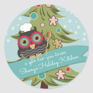 Owl chef cookie Christmas tree holiday baking Round Sticker