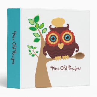 Owl chef wooden spoon cooking baking recipe binder