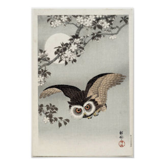 Owl, Cherry Blossoms, and Moon by Ohara Koson Poster