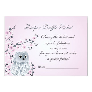 Owl Cherry Blossoms  Diaper Raffle Ticket Card