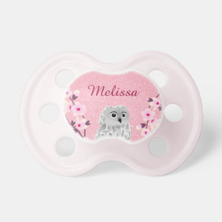 Owl Cherry Blossoms Personalized Glitter Pacifier