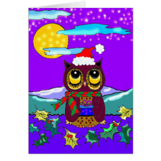 Owl Christmas Cute Christian Art Creationarts Card