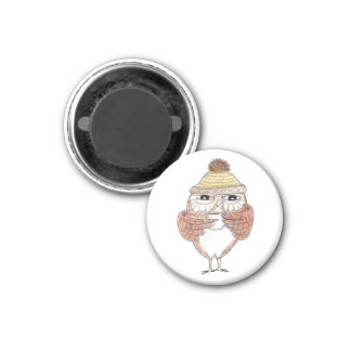Owl Coffee 1 Inch Round Magnet