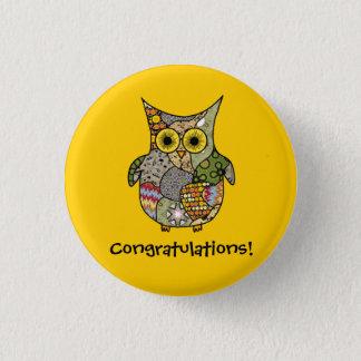 Owl Collage 1 Inch Round Button
