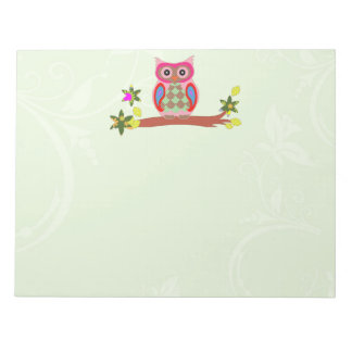 Owl colorful patchwork art decorative notepad