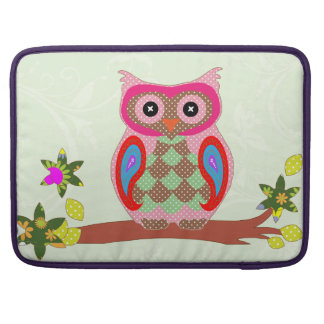 Owl colorful patchwork art macbook pro sleeve