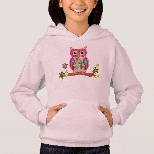 Owl colourful patchwork decorative girls hoodie