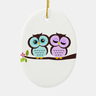 Owl Couple Ceramic Ornament
