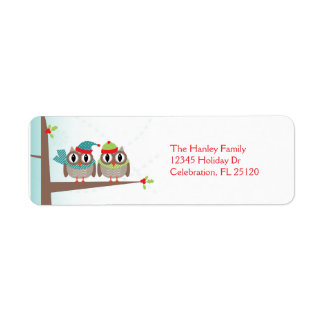 Owl Couple Christmas Return Address Label