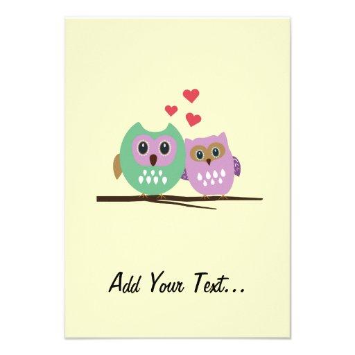 Owl couple custom announcements