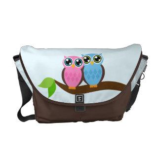 Owl Couple on a Tree Messenger Bag