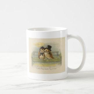 owl couple on bench coffee mug