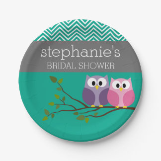 Owl Couple on Branch Bridal Shower Favors Paper Plate