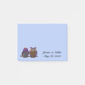 Owl Couple Wedding Favour Post it Notes