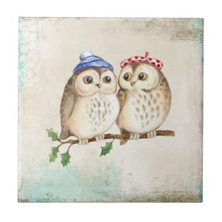 Owl couple with colourful scarfs on a tree branch. ceramic tile