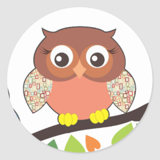 Owl Critters Classic Round Sticker