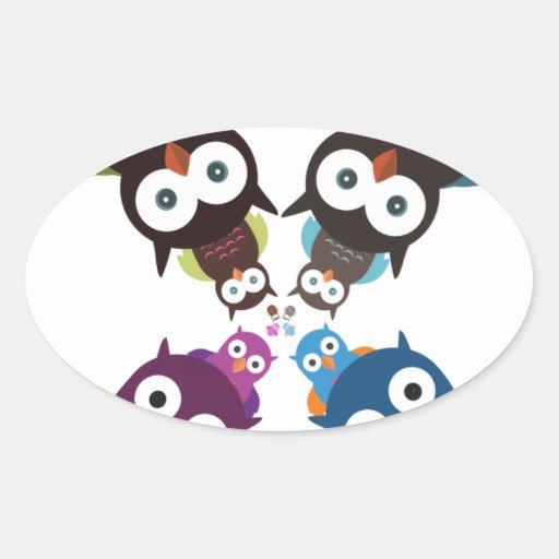 Owl Crowd Oval Stickers