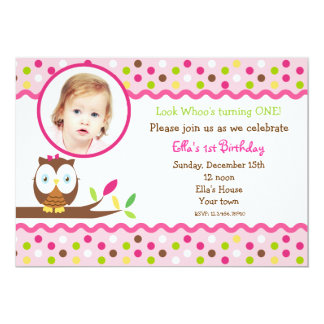 Owl cute photo Custom  birthday Party invitations