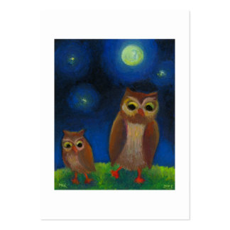 Owl dance lesson full moon night cute unique art large business card