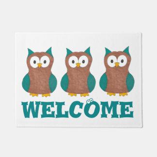 Owl Decor Brown Cartoon Owls Eyes Bird Welcome Mat