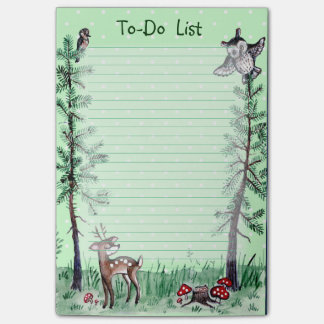 Owl Deer forest watercolor to-do list Post-it® Notes