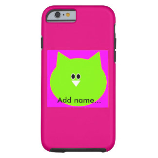 Owl design in pink and green add name phone case