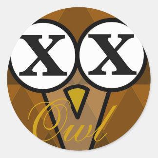 Owl diamond round stickers