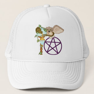 Owl, Dragon & Pentacle Pixel Art Trucker Hat