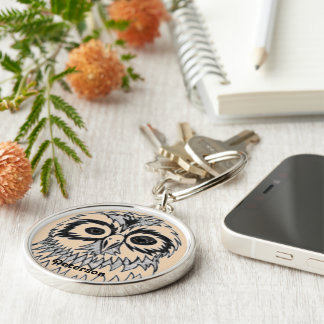 Owl drawing monogram Silver-Colored round keychain