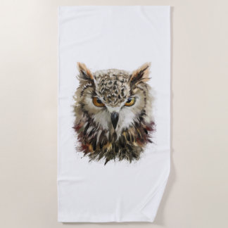 Owl Face Grunge Beach Towel