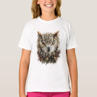 Owl Face Grunge White T-Shirt