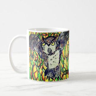 owl fall art coffee mug