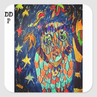 owl fall art two square sticker