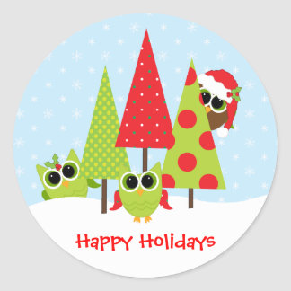 Owl Family Christmas stickers