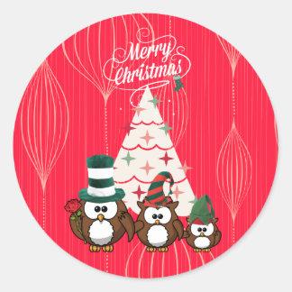 Owl Family Merry Christmas Classic Round Sticker