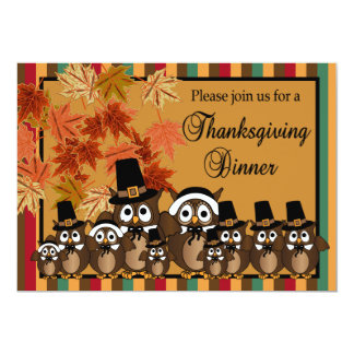 "Owl Family Thanksgiving Turkey Dinner 5"" X 7"" Invitation Card"