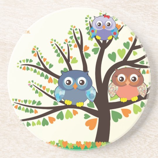 Owl Family Tree Coaster