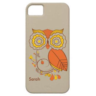 Owl & Flower design, orange brwon yellow. iPhone 5 iPhone 5 Cover