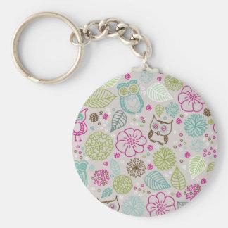 Owl Flower Pattern Design Keychain