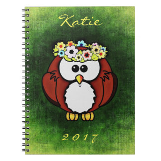 Owl Flower Wreath Cute Notebook Name Year