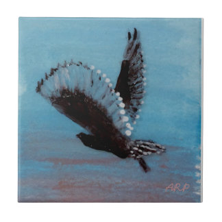 Owl Flying at Sunrise Art Tile