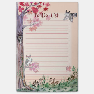 Owl forest watercolor to-do list post-it notes